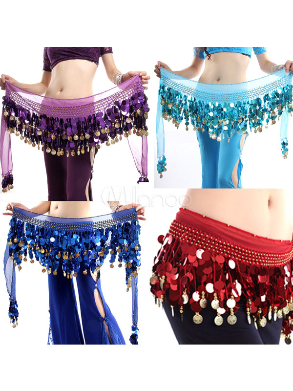 Belly Dance Hip Scarf Costume Chiffon Tassel Bollywood Dance Pendent Sash