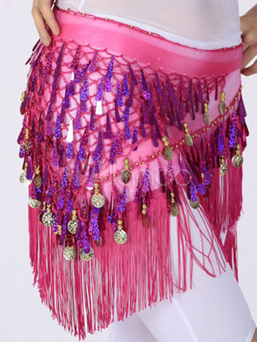 Hip Scarf Belly Dance Costume Chiffon Tassel Bollywood Dance Sarong
