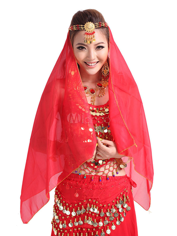 Belly Dance Veil Red Women's Belly Dancing Costume Accessories