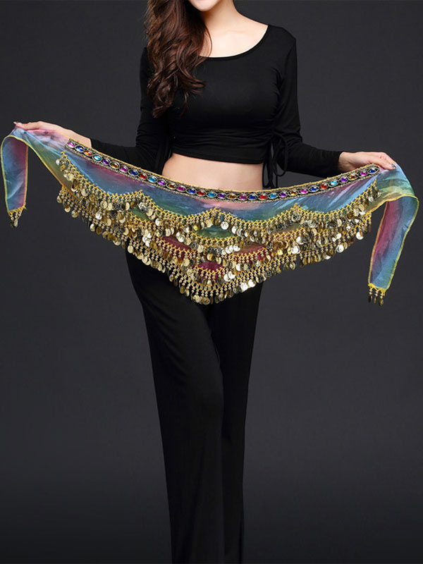 Belly Dance Costume Scarf Belt Blue Voile Bollywood Dancing Accessories