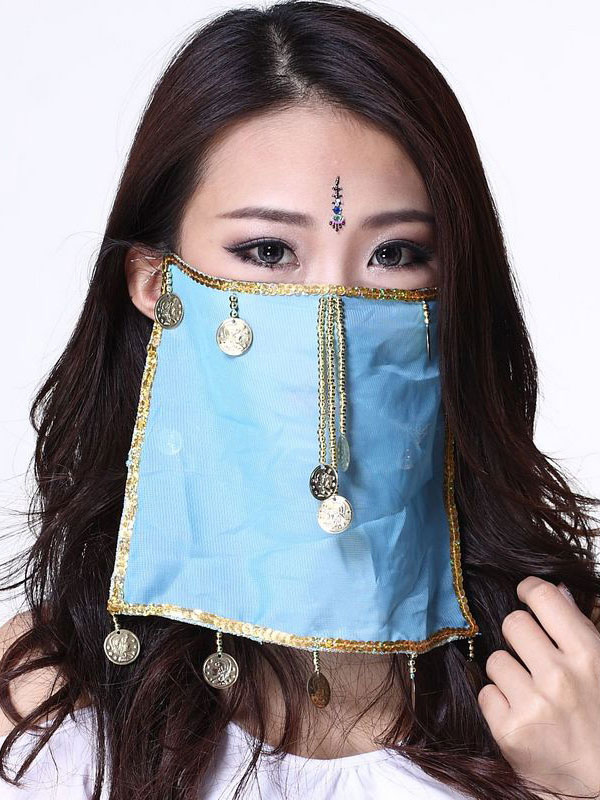 Belly Dance Face Veil Blue Voile Tassels Women's Belly Dancing Costume Accessories