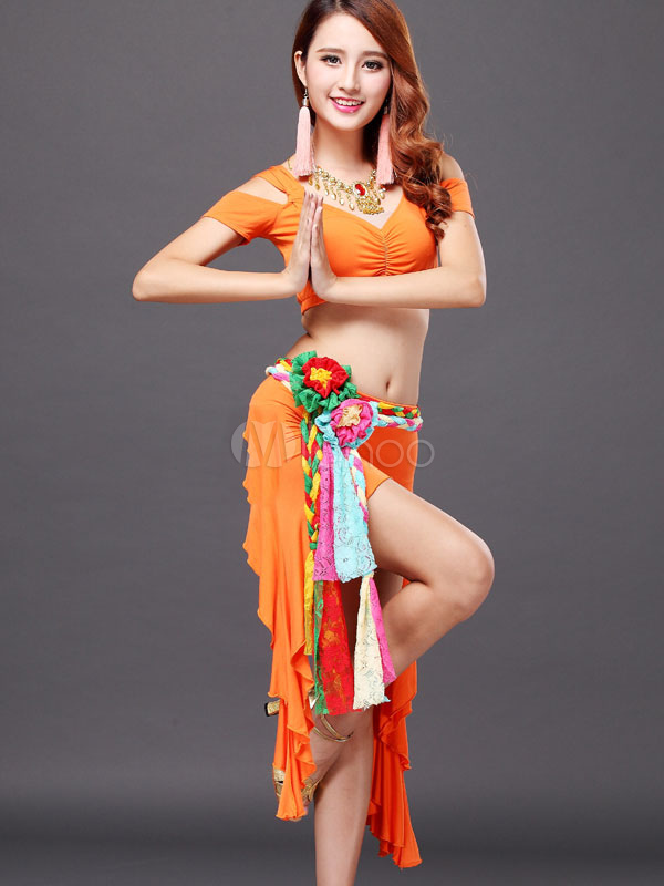Belly Dance Hip Scarf Yellow Flower Ribbon Sash Women's Dancing Costume Accessories