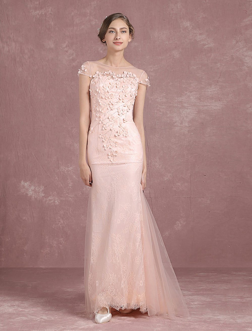 Buy Summer Wedding Dresses 2018 Blush Boho Tulle Mermaid Bridal Gown Illusion Neckline Applique Button Sleeveless Sweep Train Bridal Dress for $221.39 in Milanoo store