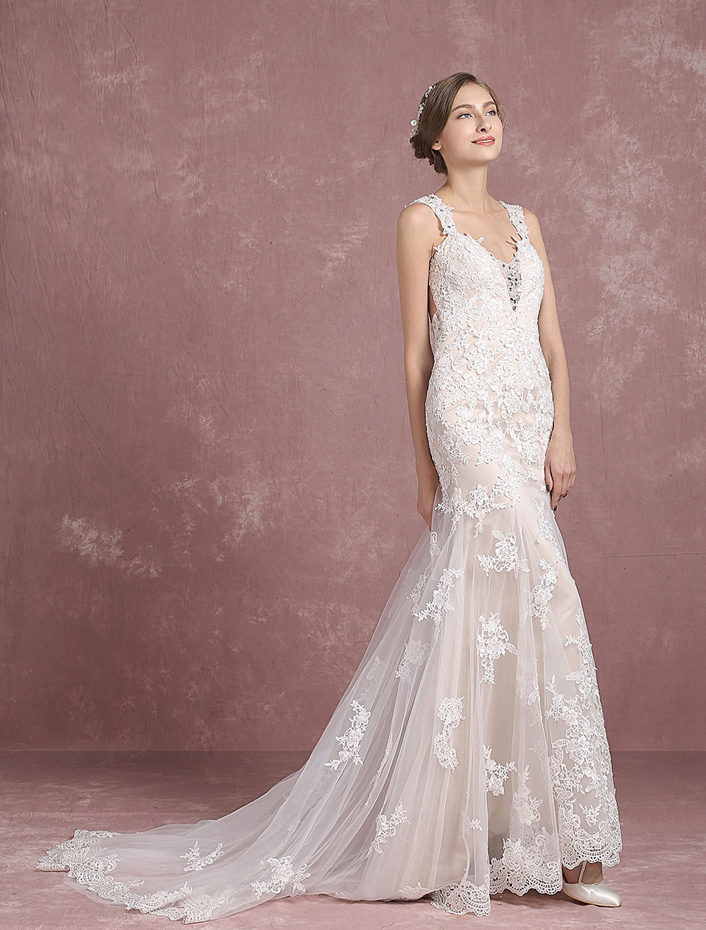 Summer Wedding Dresses 2017 Lace Champagne Straps Mermaid Bridal Gown Backless Beaded Sleeveless