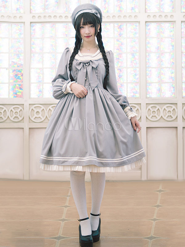 Buy Sweet Lolita Dress OP Grey Lolita Dress Sailor Cotton Blend Pleated Flare Lolita Dress for $92.79 in Milanoo store