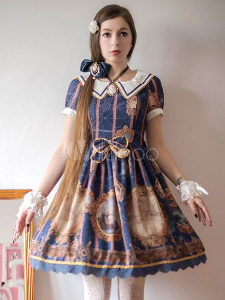 Buy Sweet Lolita Dress JSK Blue Lolita Dress Vintage Tailor Short Sleeve Bow Pleated Lolita Summer Dress for $148.19 in Milanoo store