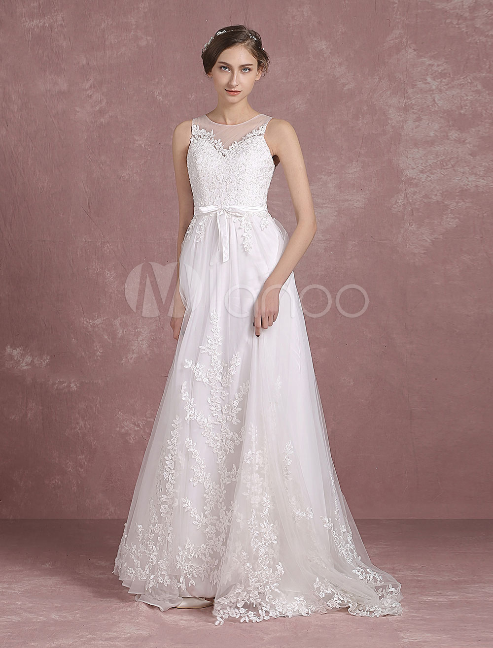 Buy Summer Wedding Dresses 2018 Lace Boho Beach Bridal Gown Sleeveless Illusion Neck Lace Applique Sweep Train Bridal Dress With Sash Milanoo for $208.79 in Milanoo store