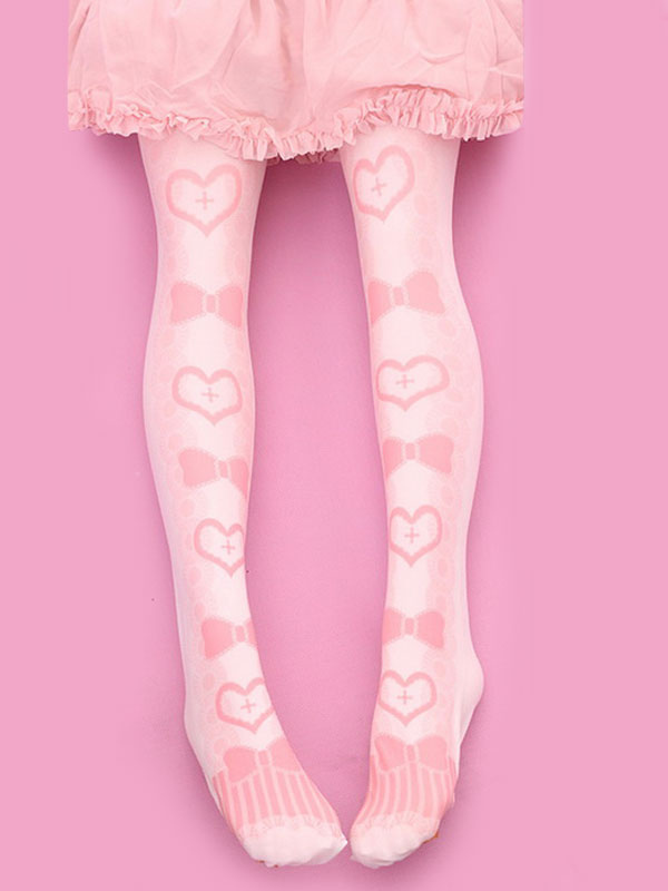 Sweet Lolita Stockings Pink Velvet Heart Bow Printed Lolita Knee High Socks