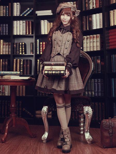 Buy Steampunk Lolita Waistcoat Vintage Triple Breasted Brown Lolita Vest Jacket for $65.99 in Milanoo store