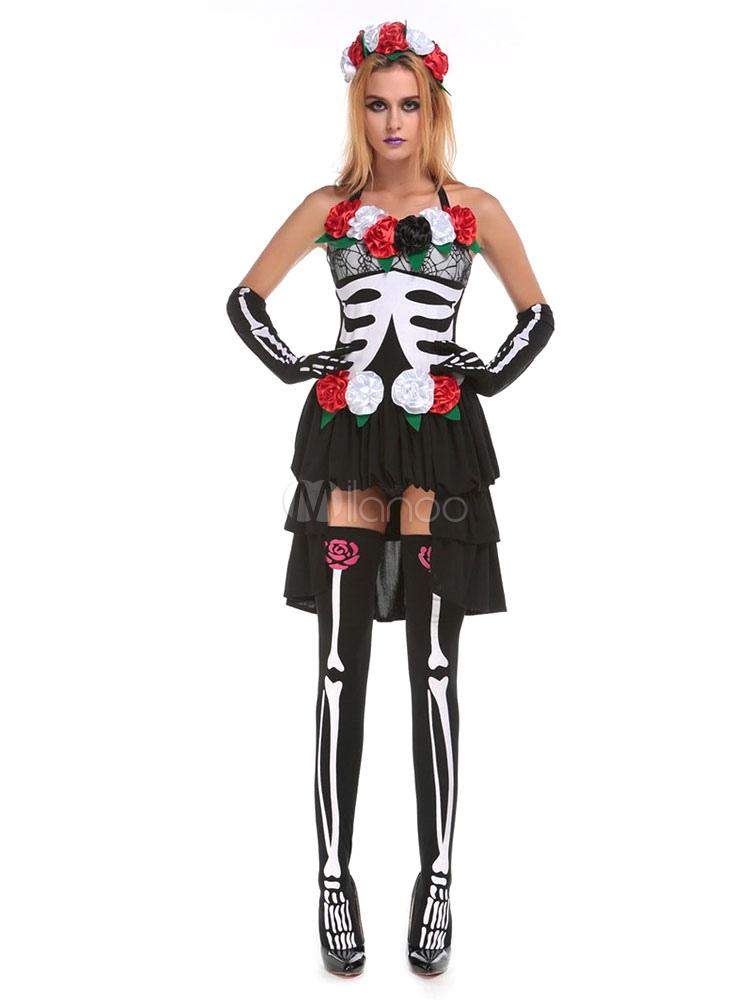 sugar skull kost m karneval damen blume skelett hoch niedrig kleid outfit karneval. Black Bedroom Furniture Sets. Home Design Ideas