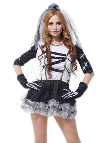 93e3e6652a9 Day Of The Dead Costume Halloween Sugar Skull Costume Women's Skeleton  Ghost Bridal Mini Dress With Veil Halloween