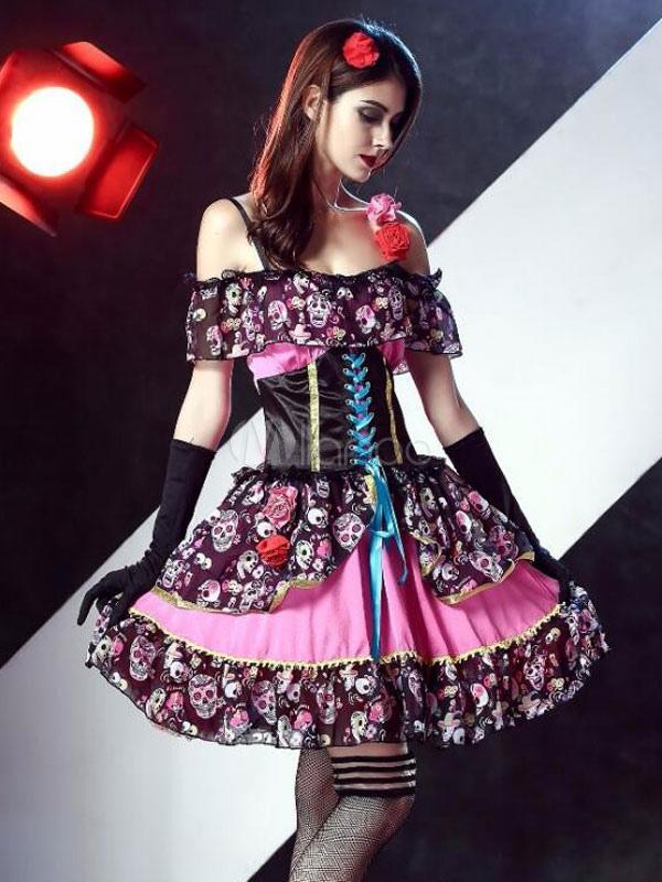 sugar vampire squelette floral robe de mari e tenue skull costume halloween femme halloween. Black Bedroom Furniture Sets. Home Design Ideas