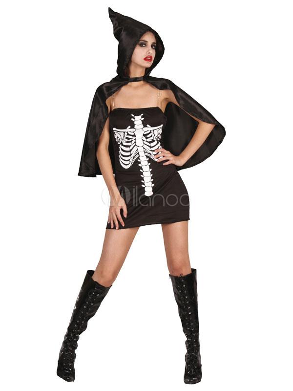 Buy Day Of The Dead Costume Halloween Sugar Skull Costume Black Strapless Sleeveless Skeleton Mini Dress With Cape For Women Halloween for $17.99 in Milanoo store