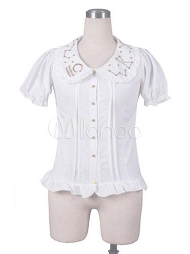 Sweet Lolita Shirts White Chiffon Short Sleeve Ruffle Lolita Blouse Top