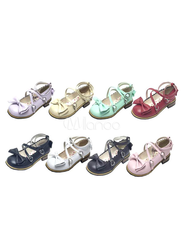 Sweet Lolita Shoes Tea Party Strappy Cute Bow Flat Lolita Shoes