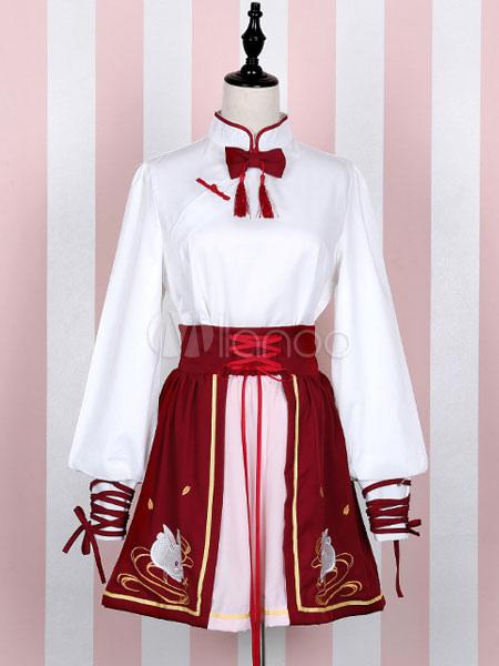 Red Lolita Skirt SK High Waist Criss Cross Swan Lake Lolita Skirt