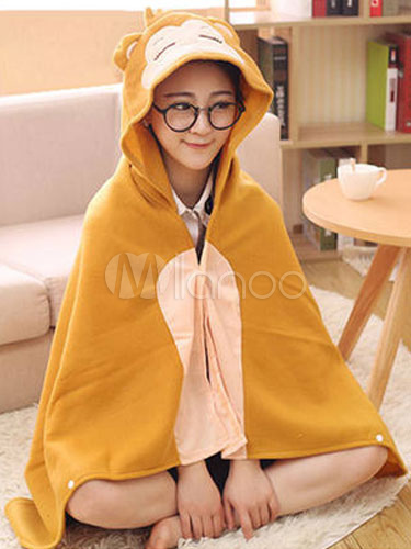 375af7314b1e Kigurumi Monkey Costume Khaki Animal Snuggies Flannel Cape Cloak Adult Onesie  Pajamas Halloween-No.