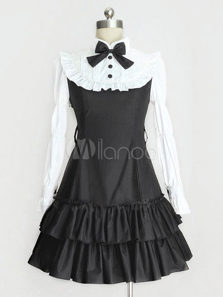 Buy Classic Lolita Dress OP Black Lolita Dress High Collar Long Sleeve Tiered Ruffle Lolita One Piece Dress With Bow for $62.99 in Milanoo store