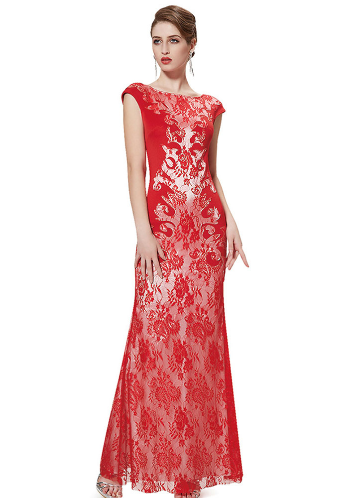 Buy Lace Evening Dress Red Mermaid Mother Of The Bride Dress V Back Short Sleeve Round Neck Floor Length Wedding Guest Dresses for $97.19 in Milanoo store