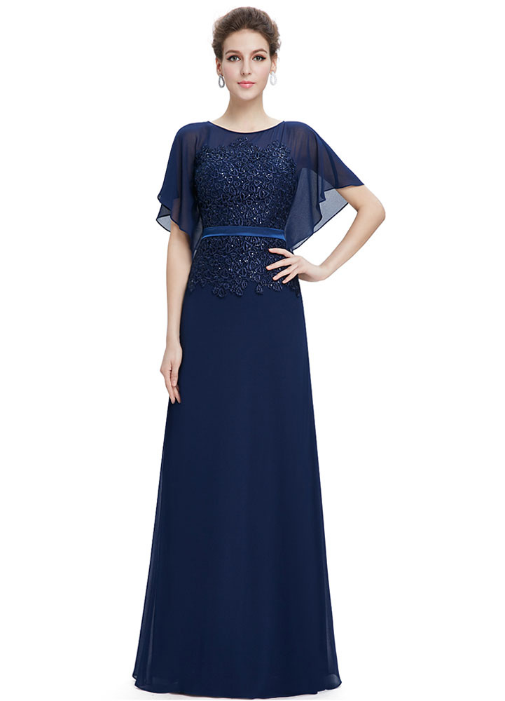 Buy Chiffon Evening Dresses Lace Applique Mother Of The Bride Dresses Dark Navy Batwing Short Sleeve A Line Floor Length Party Dresses With Sash for $128.69 in Milanoo store