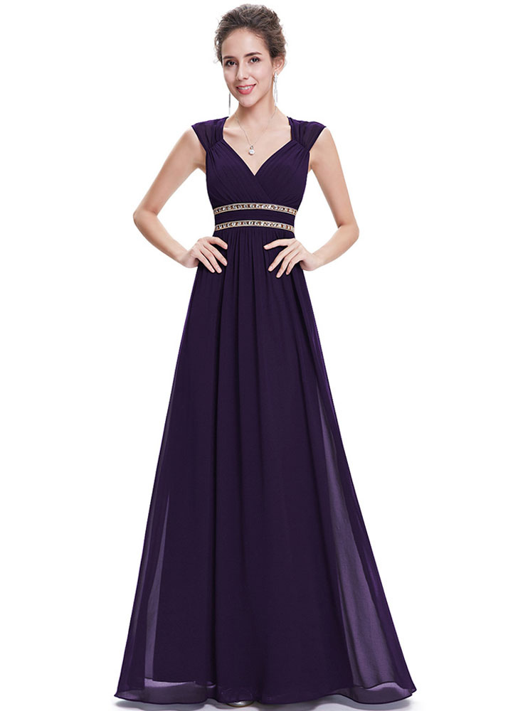 Buy Chiffon Evening Dresses Queen Anne Neckline Formal Dresses Lavender Beaded A Line Backless Floor Length Party Dresses for $128.69 in Milanoo store