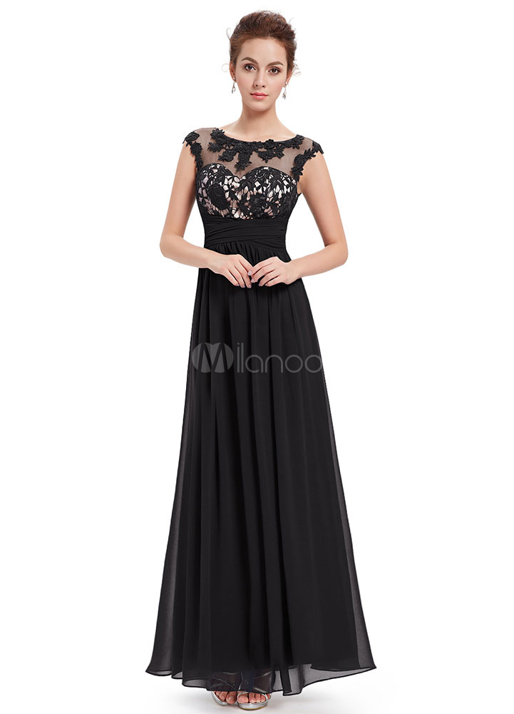 Black Evening Dress Chiffon Lace Applique Mother's Dress Illusion Sweetheart A Line Sleeveless Ankle Length Wedding Guest Dresses