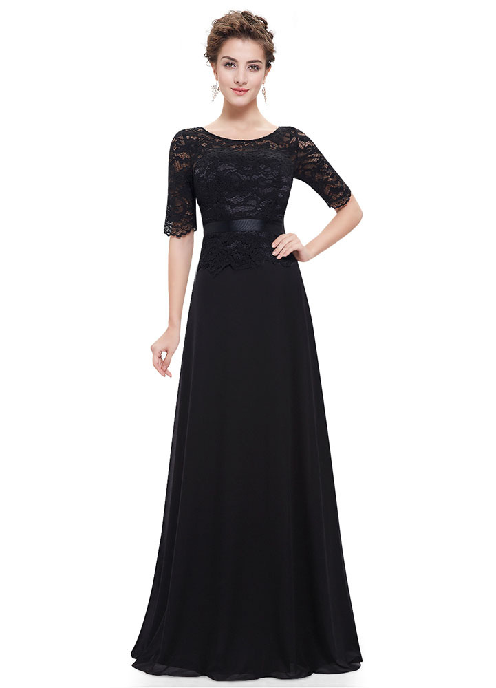 Buy Black Evening Dresses Lace Applique Mother Of The Bride Dresses Chiffon Jewel Neck Half Sleeve A Line Floor Length Wedding Guest Dresses for $108.89 in Milanoo store