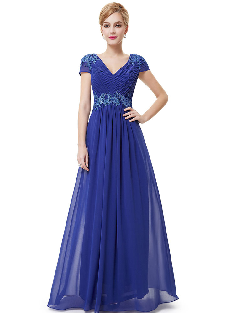 Buy Blue Formal Evening Dress Chiffon Lace Applique Mother Of The Bride Dresses Pleated V Neck Cap Sleeve Floor Length Wedding Guest Dresses for $112.49 in Milanoo store