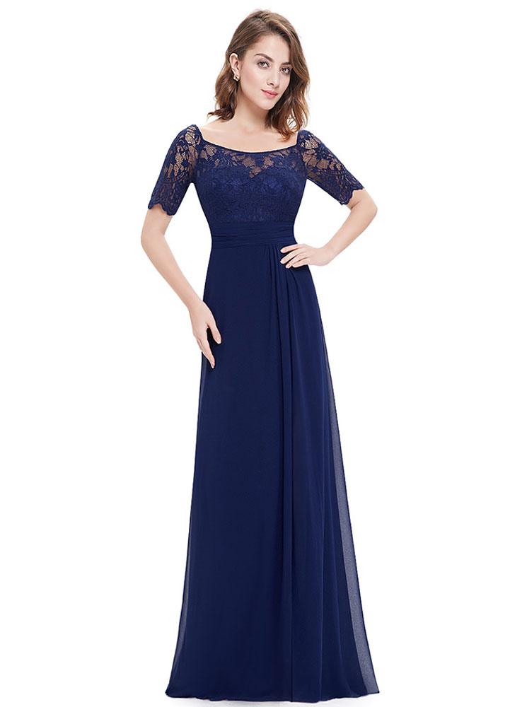 Chiffon Evening Dresses Lace Applique Mother Of The Bride Dresses Dark Navy Short Sleeve Slit A Line Floor Length Wedding Guest Dresses