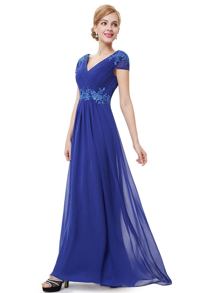 robe de soir e bleue formelle robe de mari e en mousseline de soie applique m re de la mari e. Black Bedroom Furniture Sets. Home Design Ideas