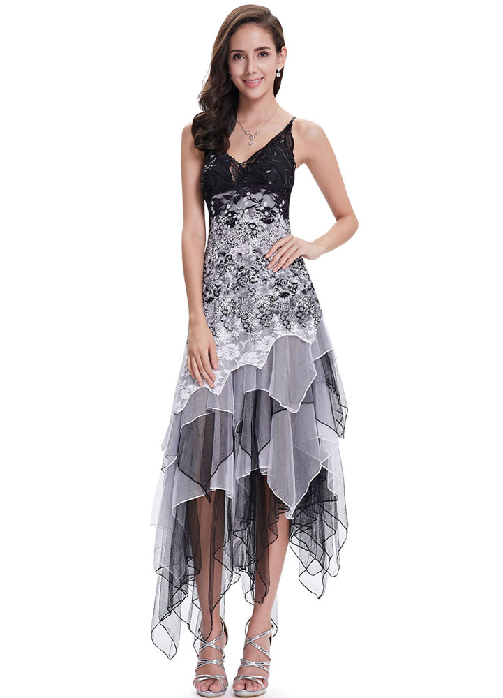 Buy Grey Prom Dresses 2018 Short Floral Cocktail Dress V Neck Sequins Beading Lace Flowers Spaghetti Strap Tulle Tiered Irregular Party Dress for $76.49 in Milanoo store