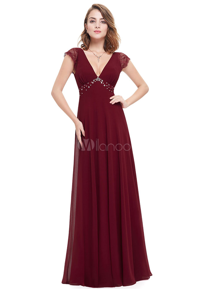 Buy Burgundy Evening Dress Chiffon V Neck Mother's Dress Beading Empire Waist Lace Short Sleeve A Line Floor Length Formal Dress for $104.39 in Milanoo store