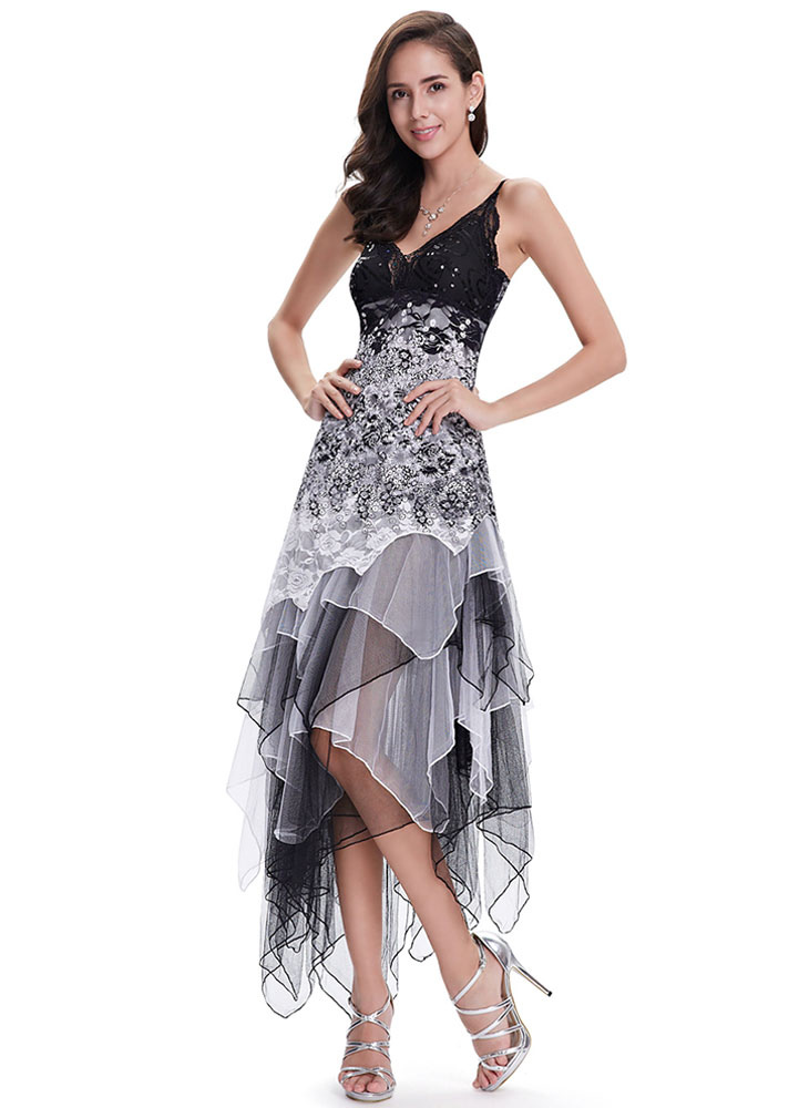 1d71468cab ... Grey Prom Dresses 2019 Short Floral Cocktail Dress V Neck Sequins  Beading Lace Flowers Spaghetti Strap ...