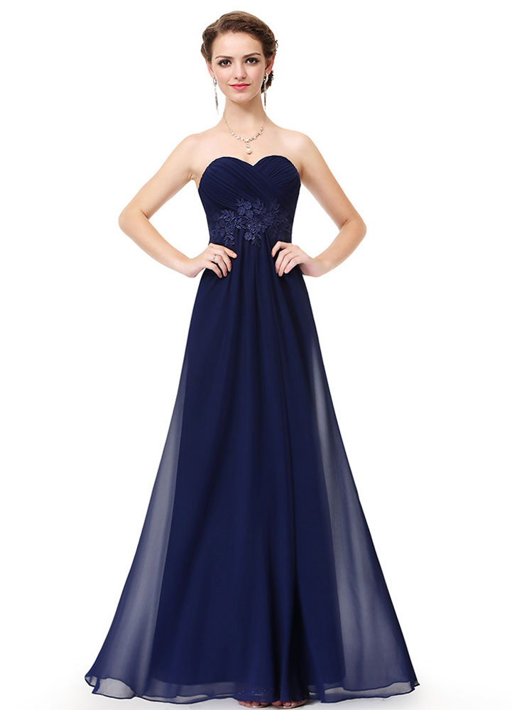 Chiffon Party Dresses Strapless Sweetheart Bridesmaid Dresses Dark Navy Lace Applique Backless A Line Floor Length Party Dresses