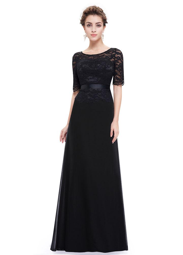 Schwarze Abendkleider Spitze Applique Mutter der Braut Kleider ...