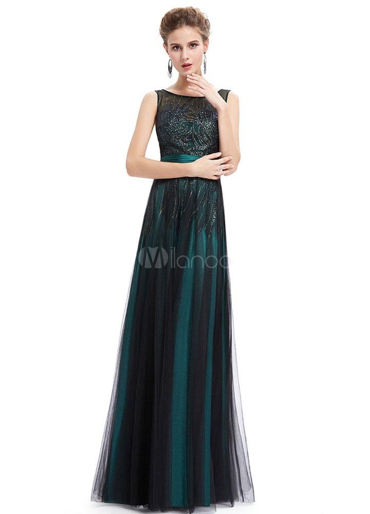 buy popular fd433 7ffed Paillettes Abiti da sera verde smeraldo madre della sposa abiti illusione  senza maniche un linea pavimento lunghezza partito abiti con Sash