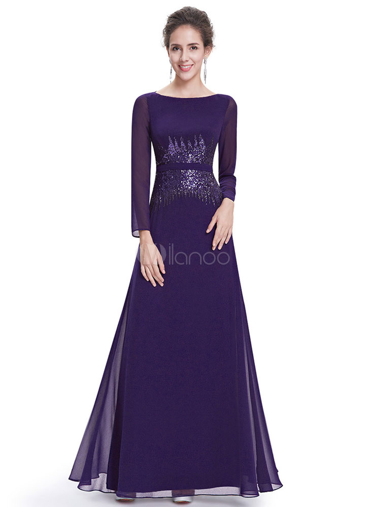 Chiffon Evening Dress Bateau Illusion Sequin Mother's Dress Long Sleeve A Line Sash Ankle Length Wedding Party Dress