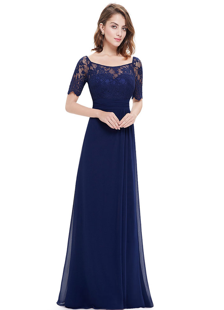 ae7e3713b6d ... Chiffon Evening Dresses Lace Applique Mother Of The Bride Dresses Dark  Navy Short Sleeve Slit A ...