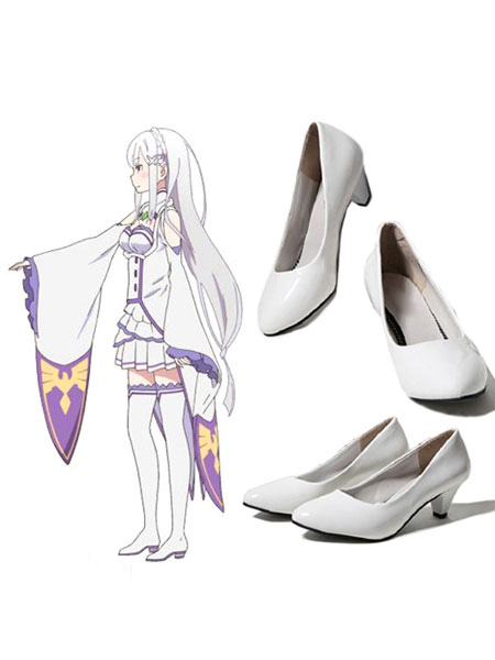 Re:Zero Starting Life In Another World Emilia Cosplay Shoes Halloween