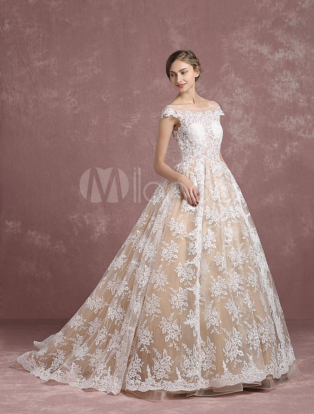 Lace Wedding Dress Champagne Bridal Gown Bateau Illusion Neckline