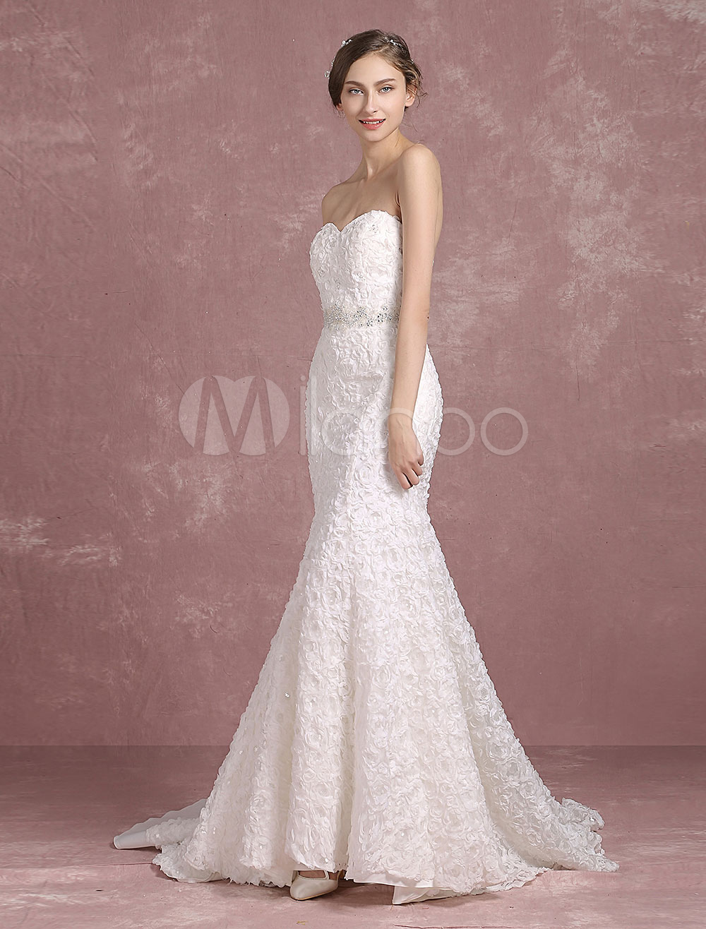 Buy Summer Wedding Dresses 2018 Mermaid Boho Backless Bridal Gown Sweetheart Strapless Lace Beading Flower Bridal Dress With Cathedral Train for $281.69 in Milanoo store