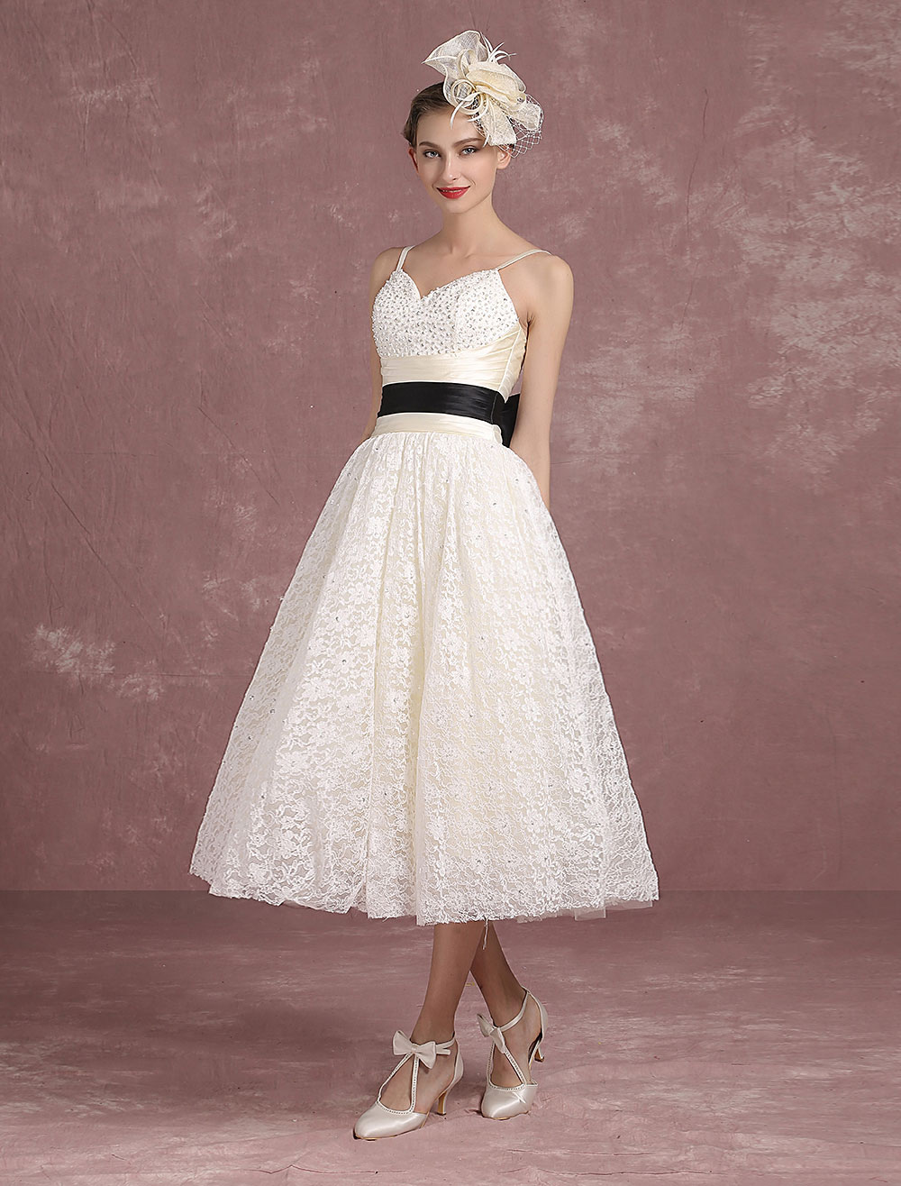 Summer wedding dresses 2018 lace vintage ivory bridal gown for Cheap ivory wedding dresses
