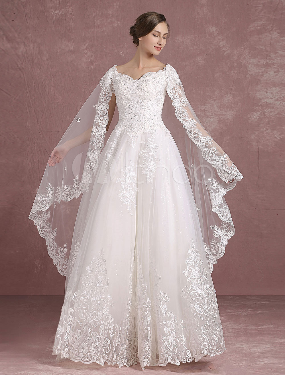 Summer Wedding Dresses 2018 Lace Bridal Dress V Neck Applique Beading Back Cutout A Line Maxi Bridal Gown With Watteau Train