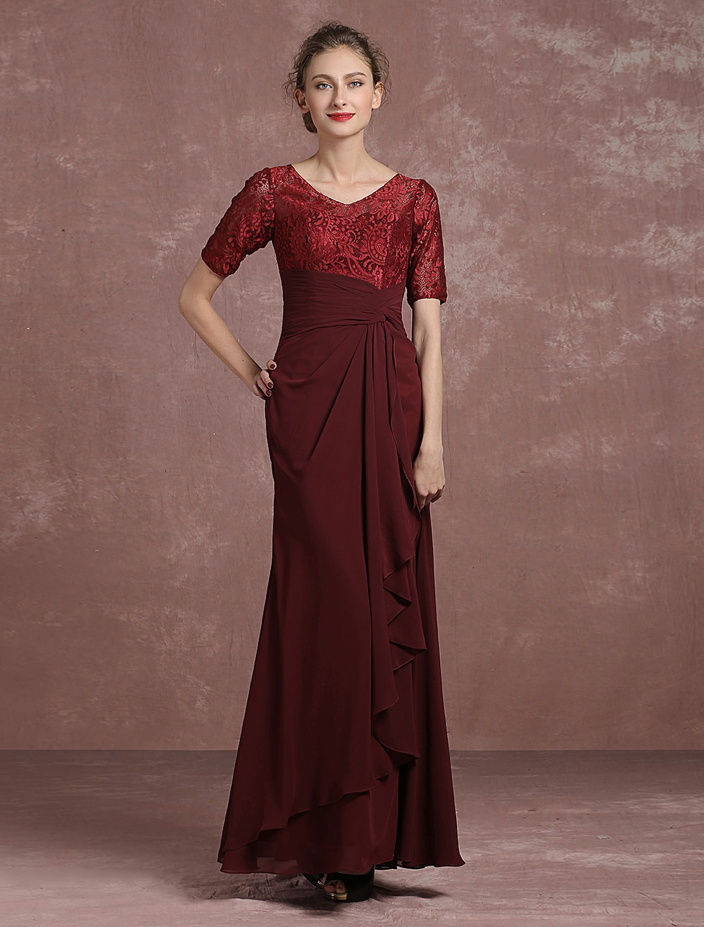 Buy Burgundy Evening Dress Lace Pleated Mother's Dress V Neck Half Sleeve Floor Length Mermaid Party Dress Milanoo for $134.99 in Milanoo store