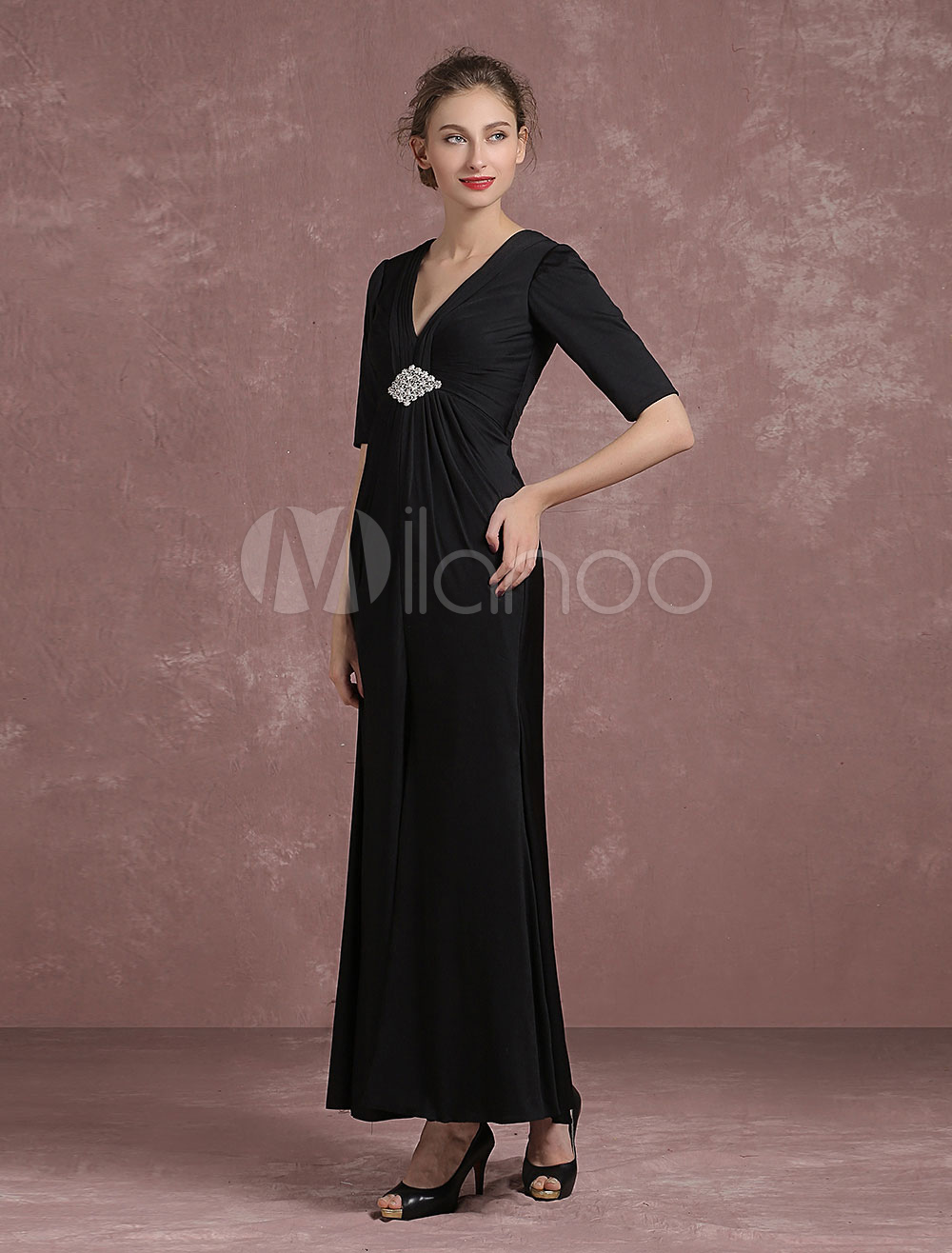 Black Evening Dress Rhinestone Pleated Mother Of The Bride Dress V Neck Half Sleeve Slit Ankle Length Party Dress Milanoo