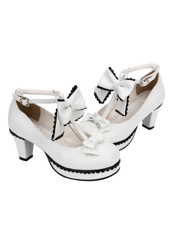 Buy Sweet Lolita Shoes White Round Toe Cone Heel T Strap Lolita Shoes for $60.71 in Milanoo store