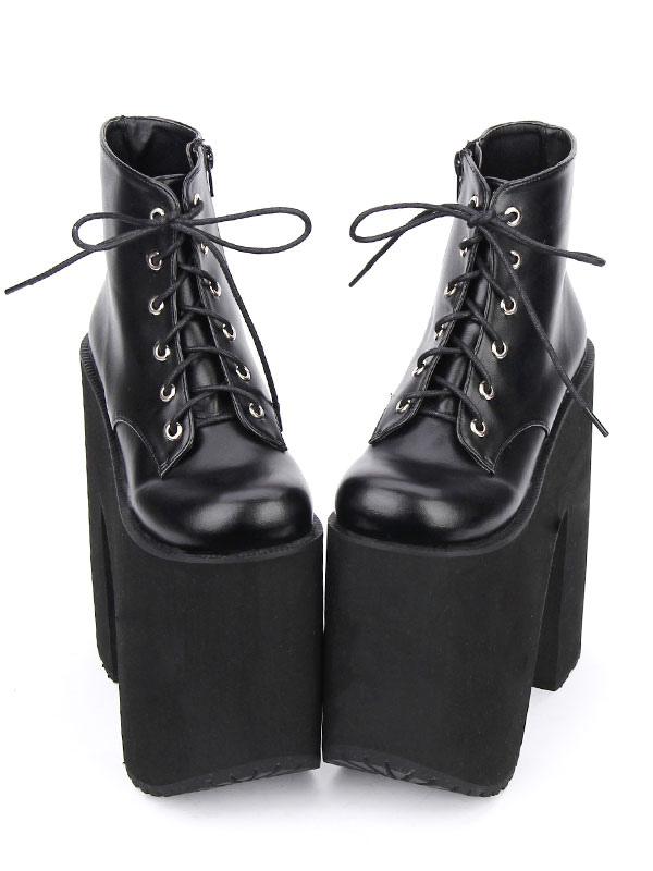 Black Lolita Booties Platform Chunky Heel Round Toe Lace Up Lolita Short Boots