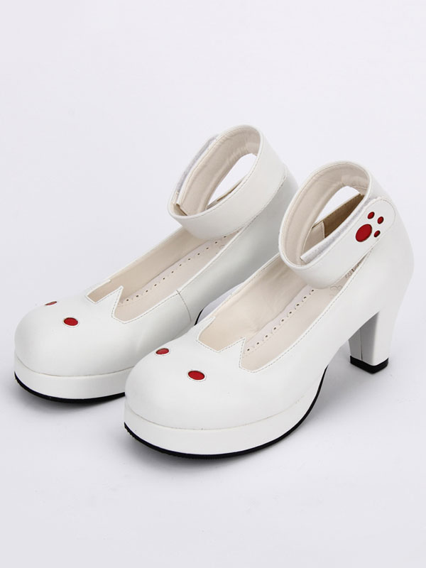 White Lolita Shoes Round Toe Bunny Pattern Low Top Cone Heel Lolita Shoes
