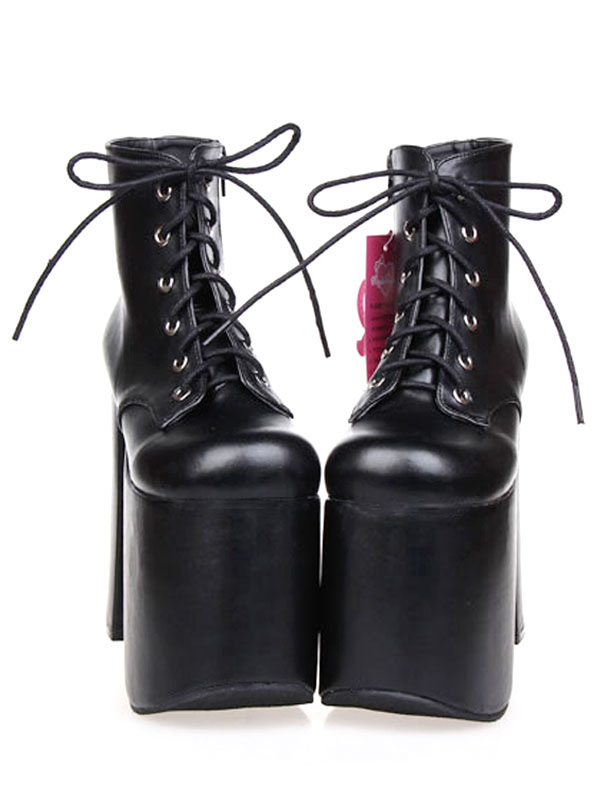 Black Lolita Booties Chunky Heel Platform Round Toe Lace Up Lolita Short Boots