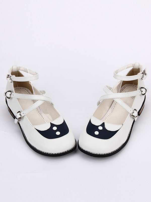 Buy Sweet Lolita Shoes White Round Toe Printed Criss Cross Ankle Strap Lolita Shoes for $60.71 in Milanoo store